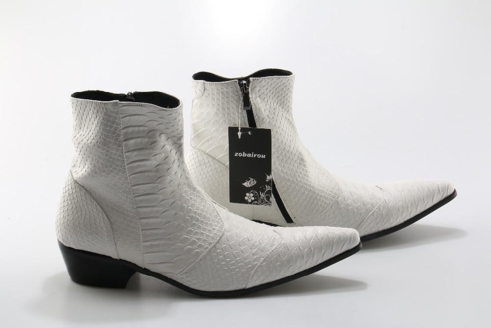 Cheville Picture Cuir Noir Chelsea Chaussures Bottes Peau Zobairou As En Picture D'hiver Hommes Serpent Cowboy as Moto Blanc OPZiXTku