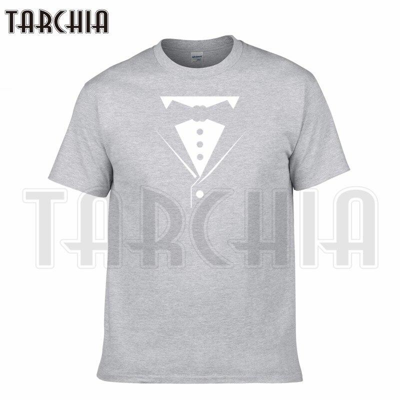 TARCHIA 2018 estate collare di Falsificazione t-shirt di marca Tuxedo  cotone tops t-shirt manica corta ragazzo casuale homme tshirt t più moda 394faf0d99e7