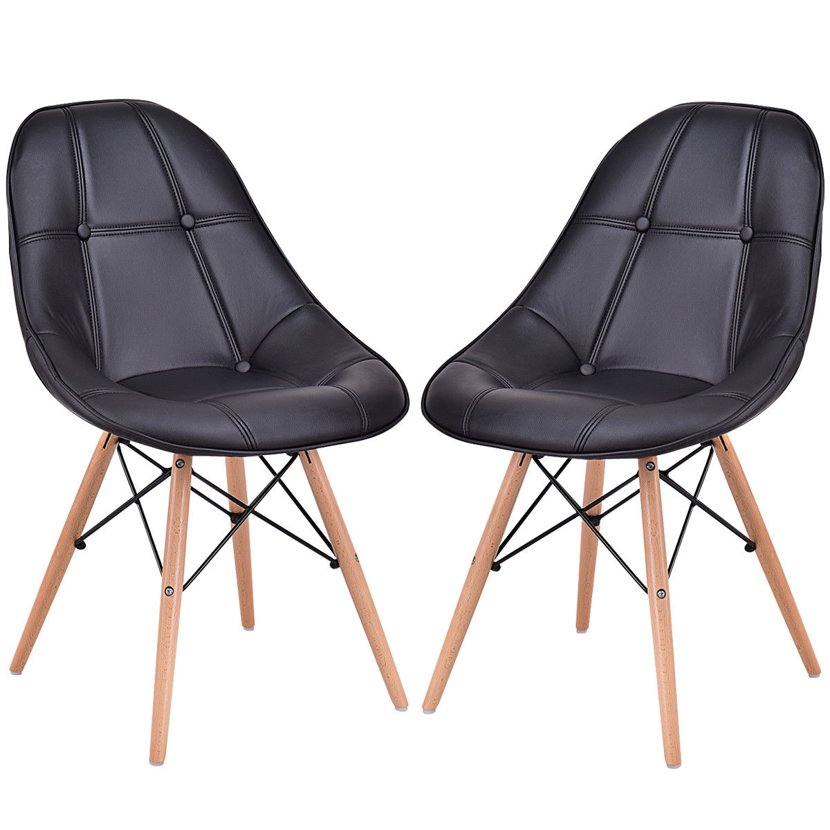 accent kitchen chair dining chair with pu leather seat solid wood swivel function Giantex Set of 2 Dining Side Chair Modern Armless PU Leather Seat with Wood Legs Black Leisure Dining Chairs HW56505BK