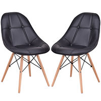 Giantex Set of 2 Dining Side Chair Modern Armless PU Leather Seat with Wood Legs Black Leisure Dining Chairs HW56505BK