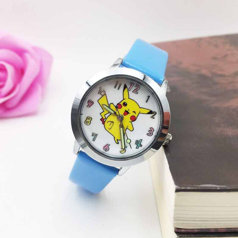 Kids Watch Cartoon Bikachu Watches For Children Girls Students Quartz Wrist Watch PU Leather Strap Luminous Hands Wristwatch