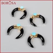 Borosa 5 шт. золото черного цвета камня полумесяца с подвеской Природный камень голубой Druzy Шарм Подвеска Мода камни для женщин g0938