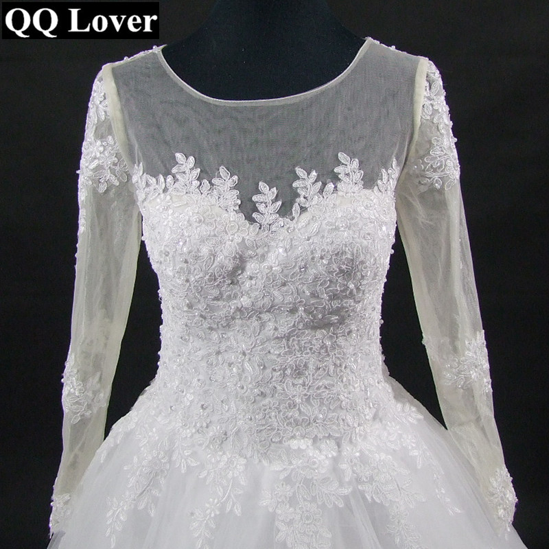 Image 5 - QQ Lover 2019 The Latest Skin Color Illusion Long Sleeves Lace Vestido De Noiva Bride Gown Custom made Plus Size Wedding Dresses-in Wedding Dresses from Weddings & Events