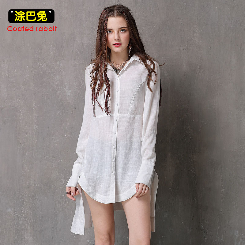 Coated rabbit New Women Shirt 2018 Spring Fashion Turn-down Collar Long Sleeve Asymmetric Tops Casual Ladies Blouse Shirts