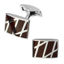 A pair of high quality brass material red square enamel silver twill cufflinks fashion men's shirts cufflinks sculpture