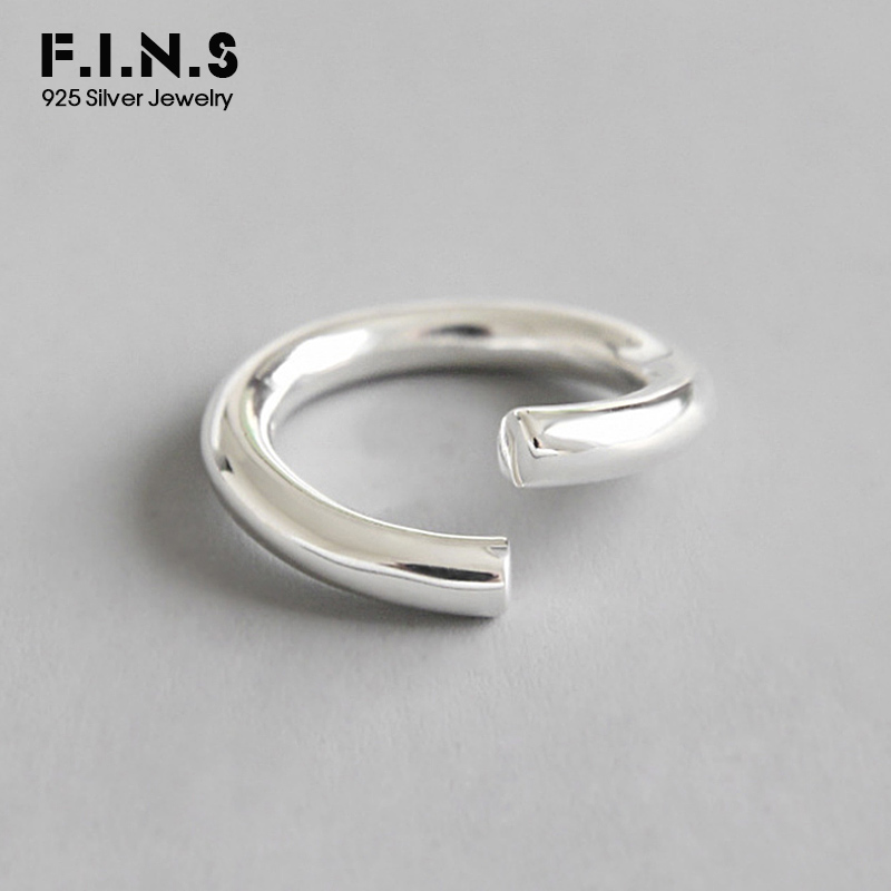 F I N S Genuine S925 Sterling Silver Fashion Ladies Ring Minimalist Open Bent Circle Finger Ring Engagement Rings for Women in Rings from Jewelry Accessories