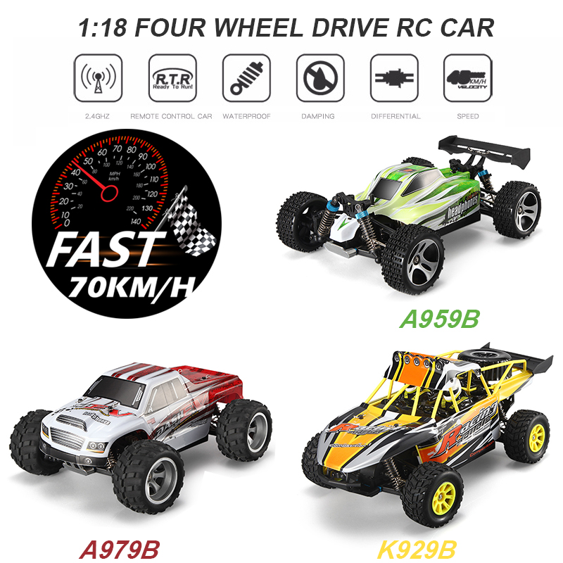 Wltoys A959-B/A979-B/K929-B <font><b>1:18</b></font> 70KM/H High Speed RC Car 2.4G 4WD RTR Remote Control Car RC Drift Car <font><b>Voiture</b></font> Telecommande image