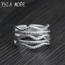 Vintage Fashion 999 Silver Jewelry Multilayer Wave Shape Thai Silver Opening Rings for Women цены