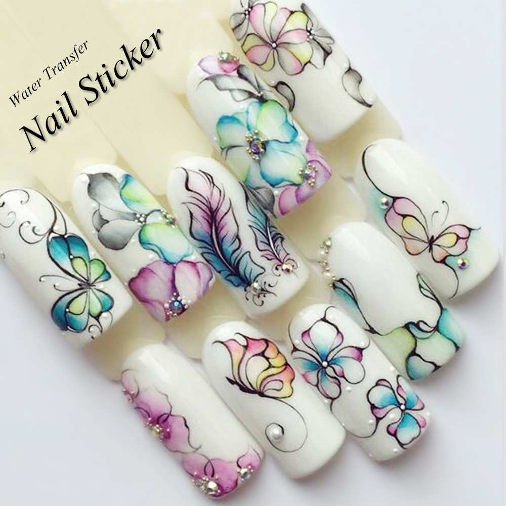 1 Sheet Water Decals Nail Art Stickers  Flowers Cartoon 2017 New Designs Watermark Transfer Red Colorful Manicure SASTZ501-512 10 sheets lot charming nail stickers full wraps flowers water transfer nail decals decorations diy watermark manicure tools