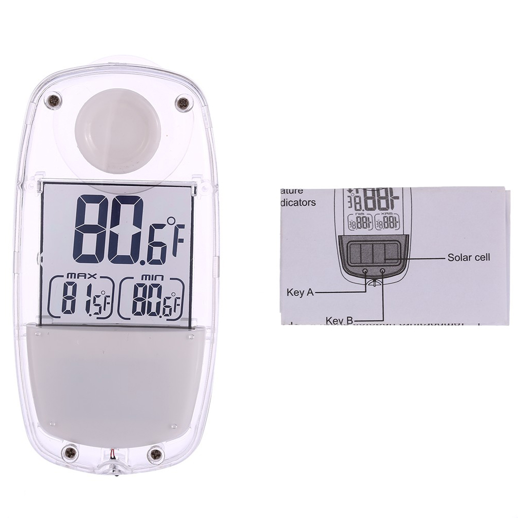 LCD Digital Solar Power Window Thermometer Suction Cup Temperature Meter Weather Station