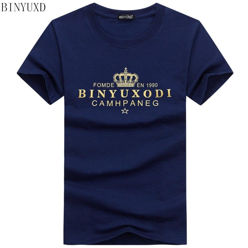 BINYUXD T Shirts Fashion Summer Casual Patchwork crown printing Shirt Men Slim Fit Mens T-shirt Plus Size S-5XL Free Shipping