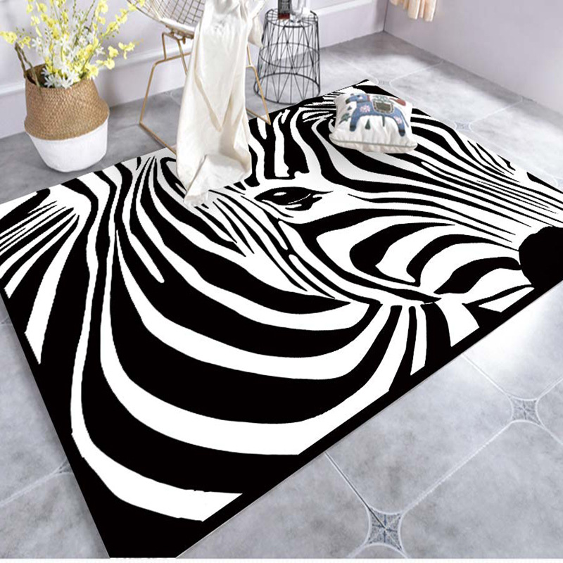 Creative Art Zebra Geometric Carpet For Living Room Bedroom Anti-slip Floor Mat Fashion Kitchen Carpet Area Rugs