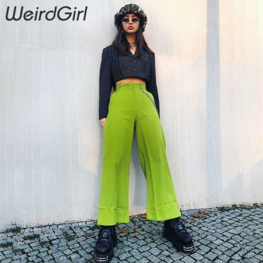 Weirdgirl women casual fashion   wide     leg     pants   solid green black high waist elastic pocket streetwear going out full spring new