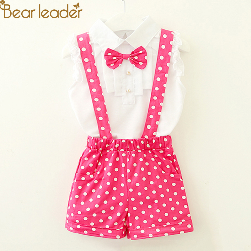 Bear Leader Girls Clothing Sets 3 Colors Chiffon Plaid Sleeveless T-shirt+PantS Suits Baby Girls Princesas Kids Clothes For 2-6Y 2017 summer girls sets clothes short sleeve chiffon baby girls sets for kids big girls t shirts and stripe shorts children suits