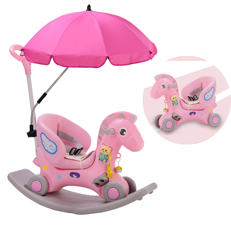 3 In 1Multifunctional Horse Rocking Chair Baby Birthday Gift Plastic Baby Small Horse Toy Baby Bouncer With Light Music1-6Y