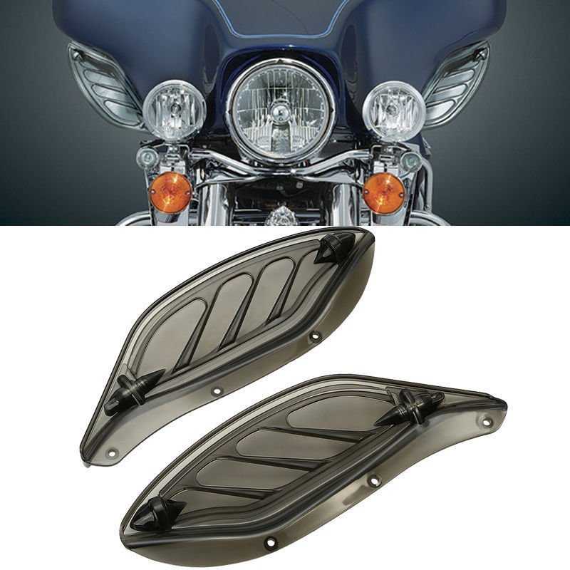 Smoke Side Wing Windshield Air Deflectors For Harley Electra Glide Street Glide Tri Glide 96-13 pair air deflector windshield side wings dark tint smoke for harley electra glide road kingstreet glide motorcycle