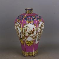 Qing Yong Zheng Antique Ceramic Vase Enamel Hexagon Meiping Vase Antique Porcelain Ancient Porcelain Collection