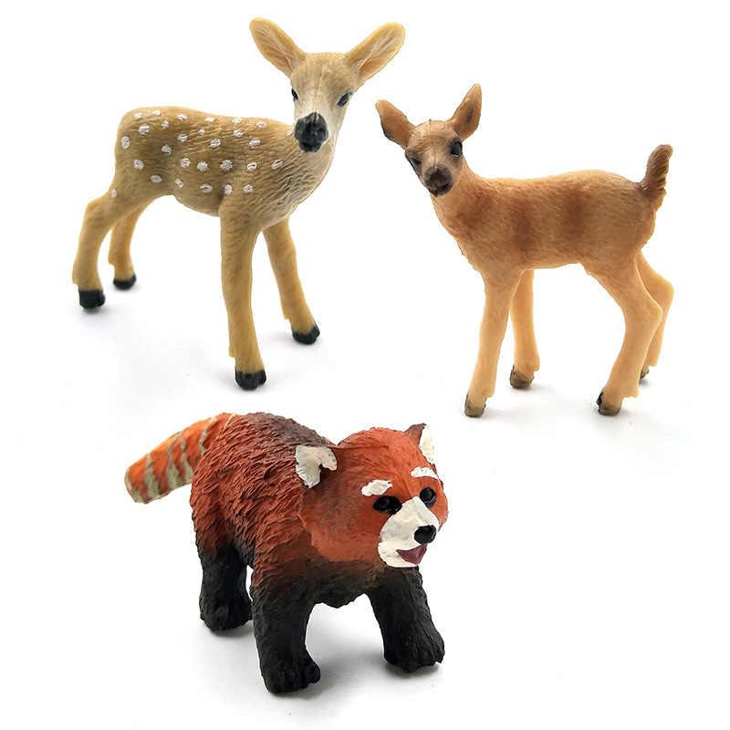 Mô phỏng mini Gấu Trúc Tai Voi Gấu Trúc Kangaroo Alpaca Hươu Gấu Tặng Wildebeest Mô Hình động vật hình trang trí nhà cổ tích hình