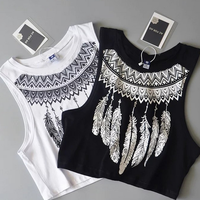 New Summer Style Women Sexy Tops Black Round Neck Sleeveless Vintage Tribal Feather Print Fitness Casual