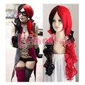 60 cm Longo Harley Quinn Vermelho e Preto Encaracolado Cosplay Peruca Resistente Ao Calor Fibra Sintética perucas de Cabelo