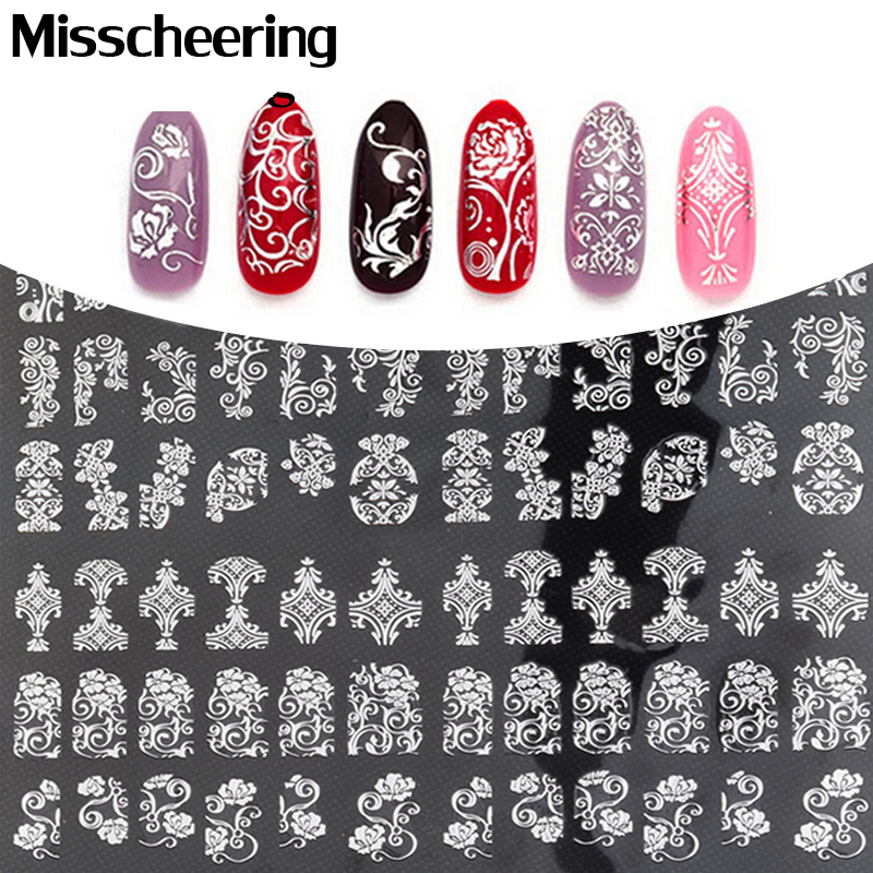 Ny Ankomst Sølv 3D Nail Art Stickers Dekaler, 108pcs / sheet Stilig Metallic Mixed Designs Nail Tips Tilbehør Dekor Tool