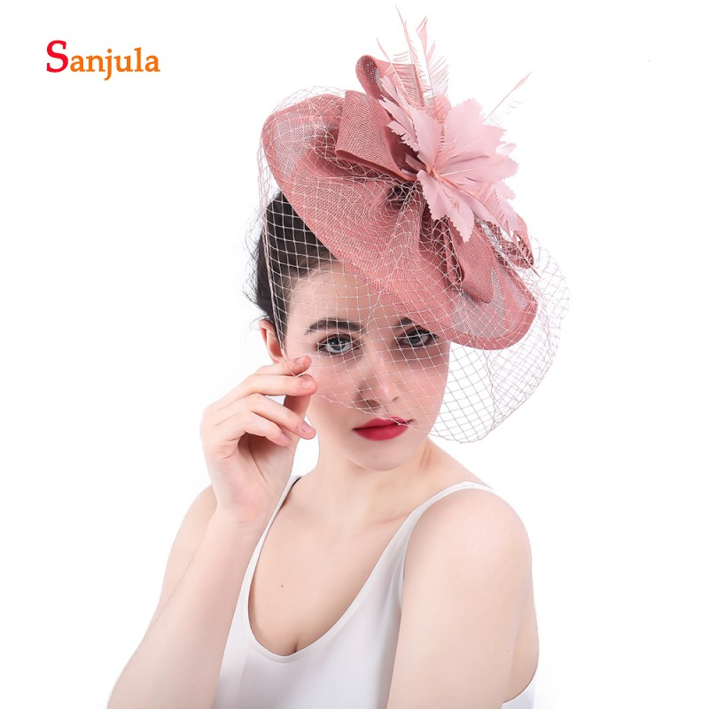31a6c230ae4a6 ... Women s Hat with Face Veil Bridal Hast Feathers Fascinators Hair  Decoration pamelas boda sombrero H49. conew syf310 (1) conew syf310 (2)  conew syf310 ...