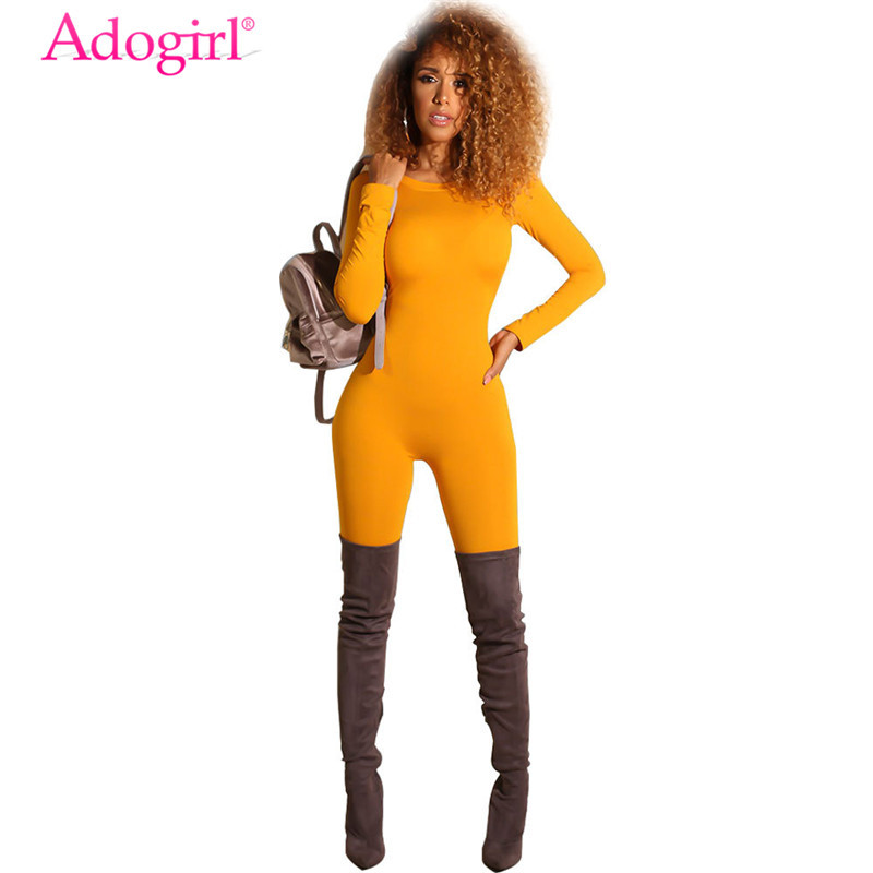 Adogirl Solid Bandage Jumpsuit Women O Neck Long Sleeve Romper Casual Outfits Sexy Night Club Overalls Tracksuit Fashion Apparel
