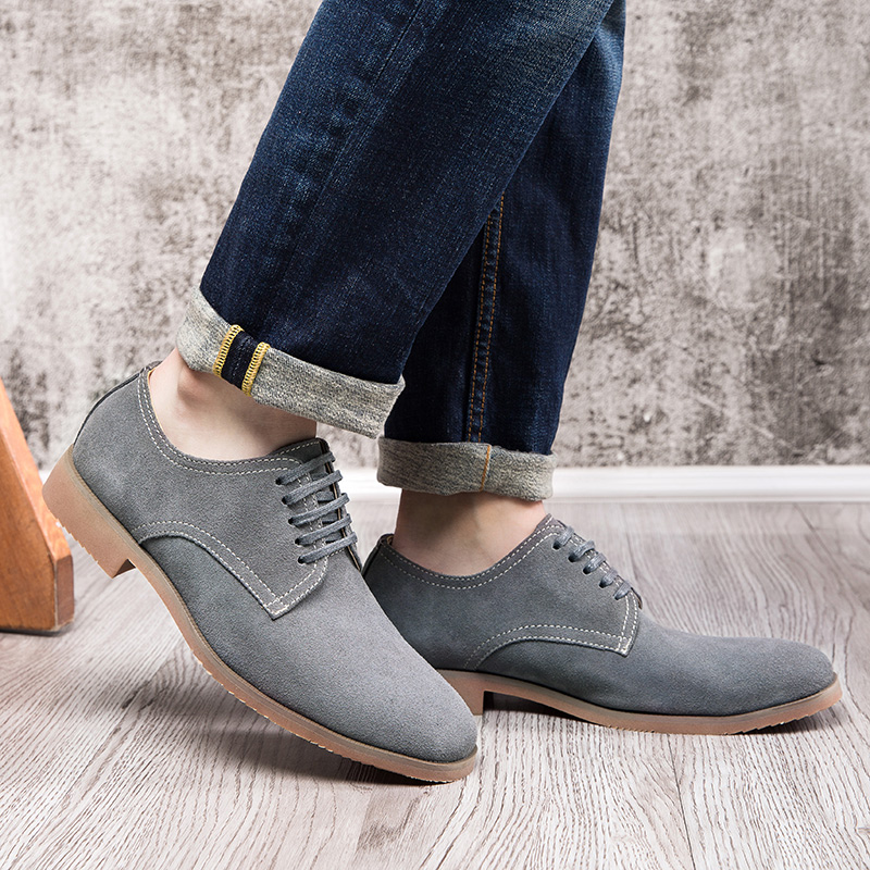 OSCO New Fashion Spring Autumn Suede Men Flat Casual Shoes Leather Flats Driver Footwear Breathable Lace Up Plus Size 39-44 urbanfind men lace up casual shoes black white blue eu size 39 44 brand fashion men leather footwear for spring autumn
