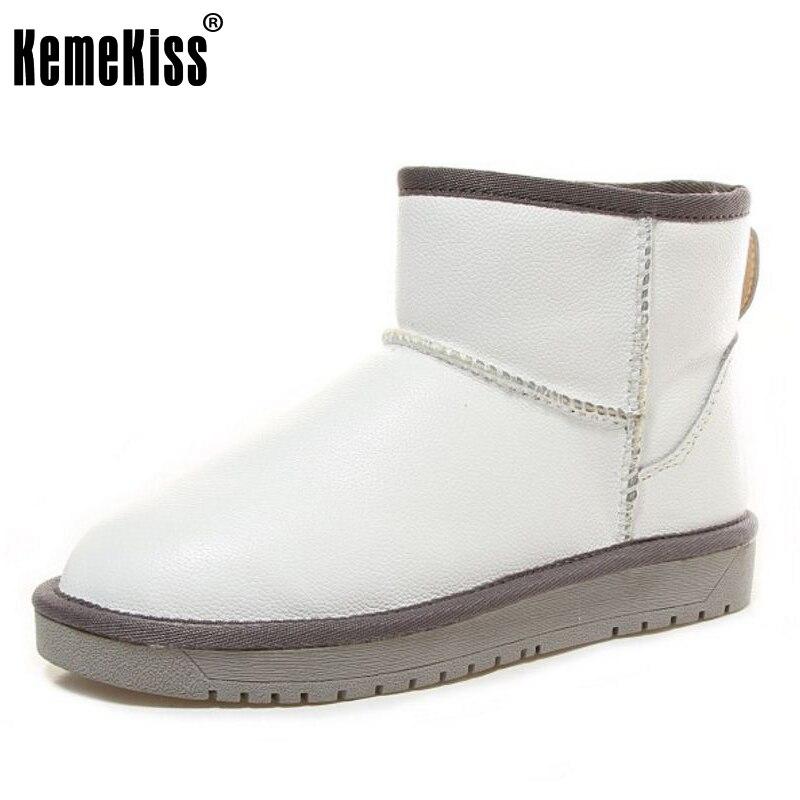 KemeKiss Women Genuine Leather Half Short Snow Boots Thick Fur Shoes For Cold Winter Boots Flats Botas Women Fotowear Size 35-40