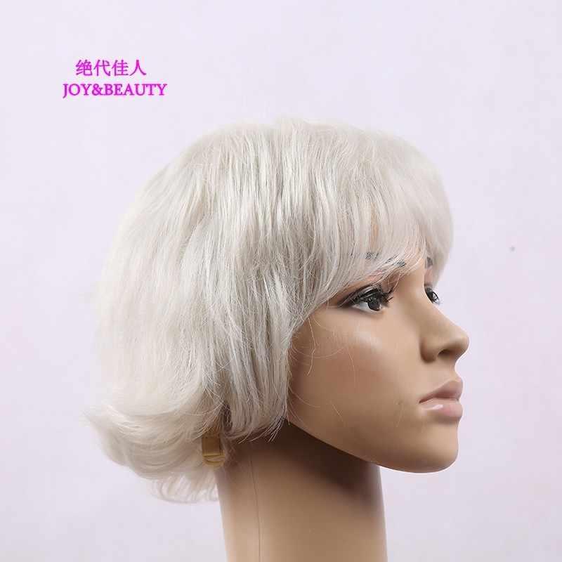Peluca rizada corta blanca de plata pelo sintético pelo de JOY & BEAUTY fibra de alta temperatura para mujeres pelucas de 9 pulgadas