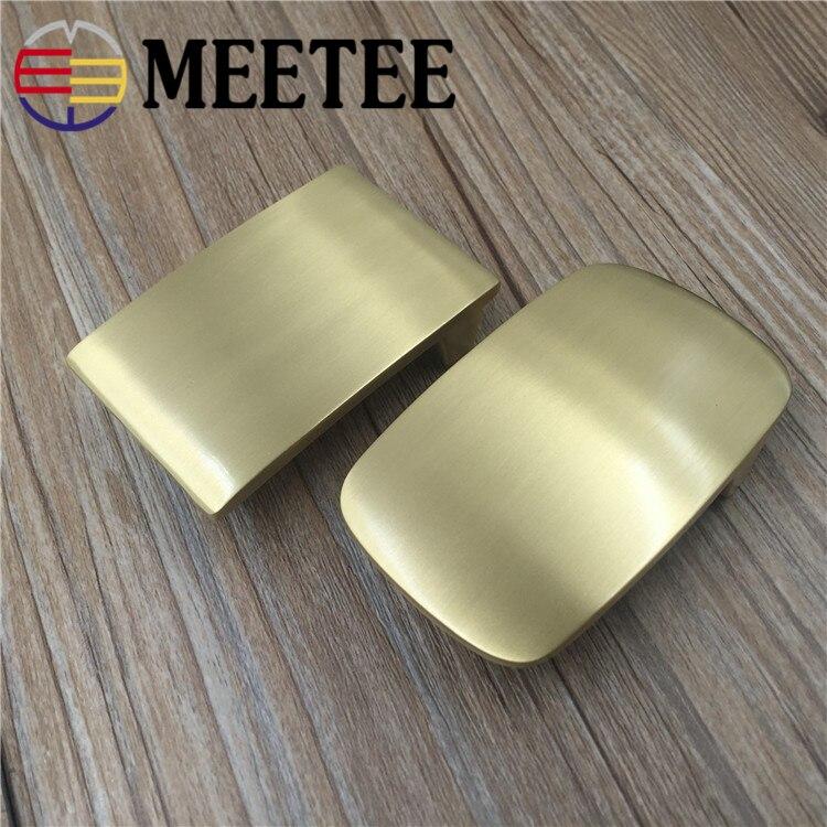Meetee 40mm Width Brass Belt Buckle for Men Direct Sale Pure Copper Belt Buckle Head DIY Buckle Leather Belt for 38-39mm Belt