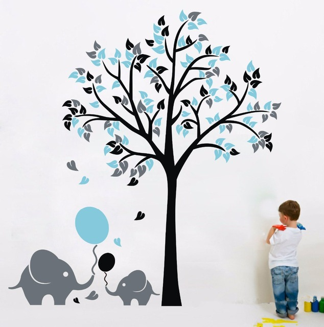 L46 elephant balloon tree wall sticker vinyl decal kids nursery baby decor art mural