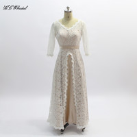 Long Sleeve Lace Wedding Dress 2018 V Neck A Line Floor Length Champagne Bridal Wedding Party