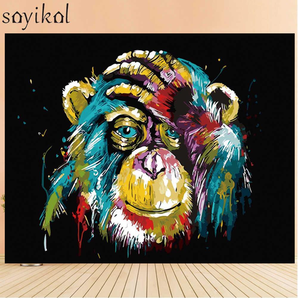 Boyama Numarasi Cekme Kopek Aslan Baykus Gorilla Diy Yagliboya