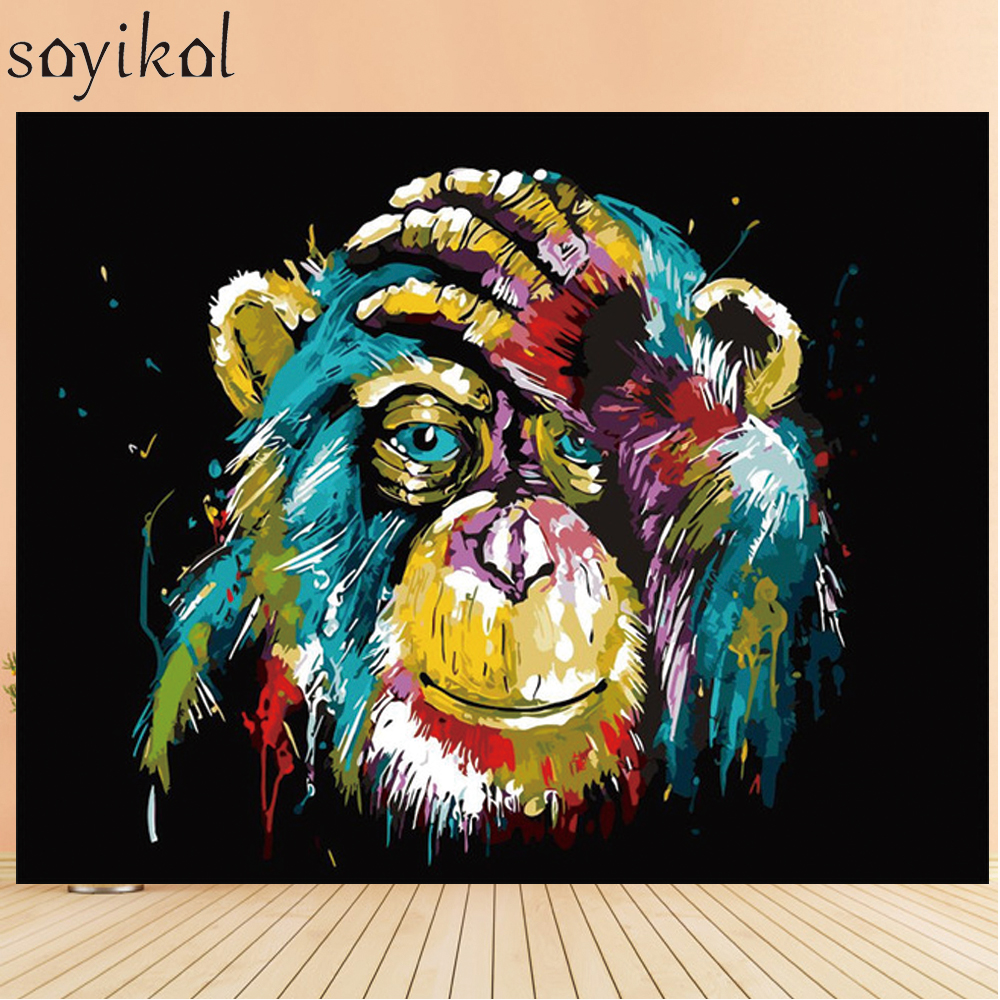 Mewarnai Dengan Nomor Gambar Anjing Singa Burung Hantu Gorila DIY Minyak Lukisan Dengan Angka Abstrak Cat Akrilik Hewan Dinding Dekorasi Rasa Sakit