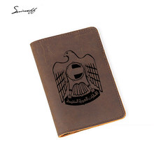 Travel Accessories The United Arab Emirates Passport Cover Custom Name Cow leather Credit Card Holder Travel Passport Organizer(China)