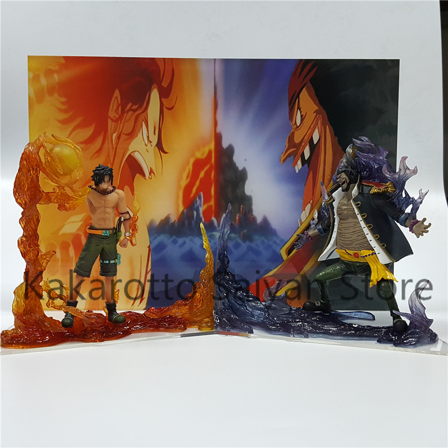 One Piece Action Figure ACE VS Teach Model Toys One Piece Anime Luffy Zoro Collectible Model Toy Acrylic Background new hot 8cm 6pcs set one piece luffy sanji roronoa zoro donquixote doflamingo collectors action figure toys christmas gift toy
