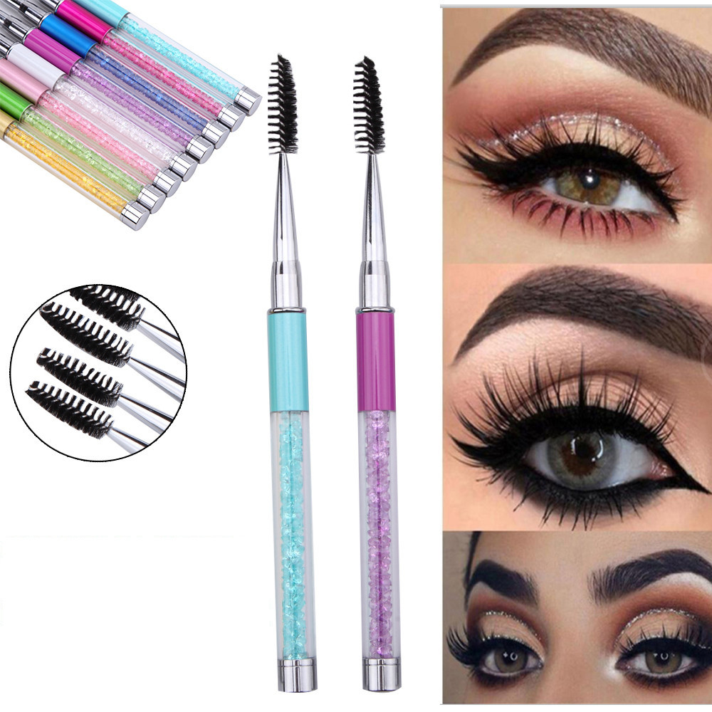 New Reusable Eyelash Brush Cosmetic Mascara Wand Applicator Spooler Makeup Tool Pen Spiral rhinestone lash brush H30315(China)