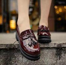 купить Women Platform Tassel Patent Leather Creeper Slip On Loafers British Retro Shoes B180 по цене 2181.24 рублей