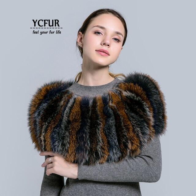 [YCFUR] Women Scarf Shawl Winter Sew Stripes Raccoon Fur Scarves Shawls Women Elastic Scarves Wraps Female