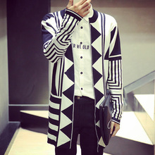 Sweater men autumn new thin cardigan coat geometry graph male youth men long sweaters knitted jacket C65