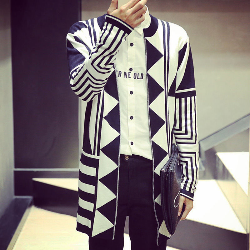 Sweater men autumn new thin cardigan coat geometry graph male youth men long sweaters knitted jacket