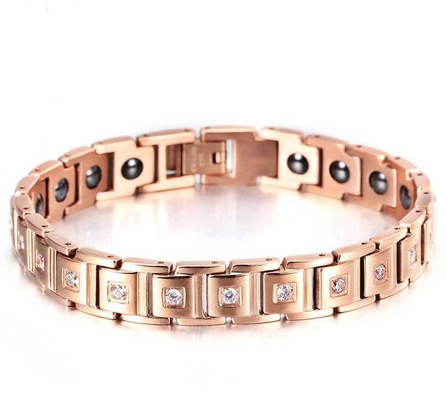 Energy Magnetic Health Bracelets Women Rhinestone Stainless Steel Rose Gold Color Magnet Chain Crystal Bracelet Fashion