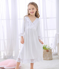 2019 New Long White Color Children Nightgown Nightwear Girls For Age 3-10 Years