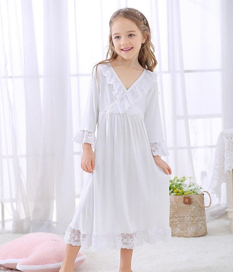 KöStlich 2019 Neue Lange Weiße Farbe Kinder Nachthemd Nachtwäsche Mädchen Für Alter 3-10 Jahre Warmes Lob Von Kunden Zu Gewinnen