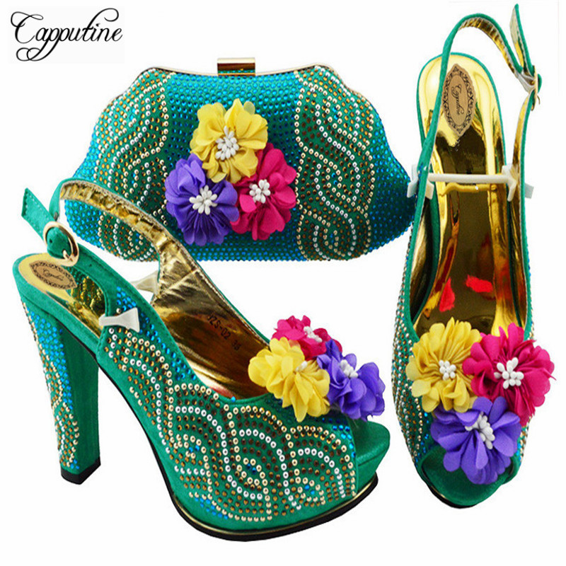 Capputine 2018 Latest Teal Color Italian Shoes And Bags To Match Nigerian Style High Heels 11CM Shoes And Bag Set On Stock ZS-02 capputine latest italian woman shoes and bags to match shoes with bag set bag and shoes set italy nigerian shoes and purse set