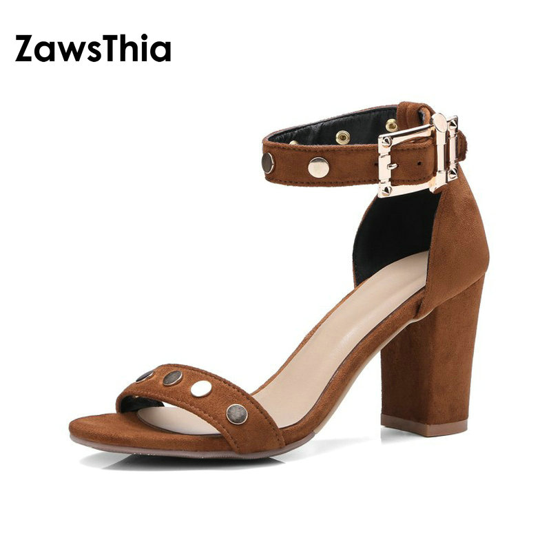 ZawsThia 2018 flock block high heeled summer woman shoes party wedding shoes studded ankle wrap buckle strap women sandals ankle strap block heeled pu sandals