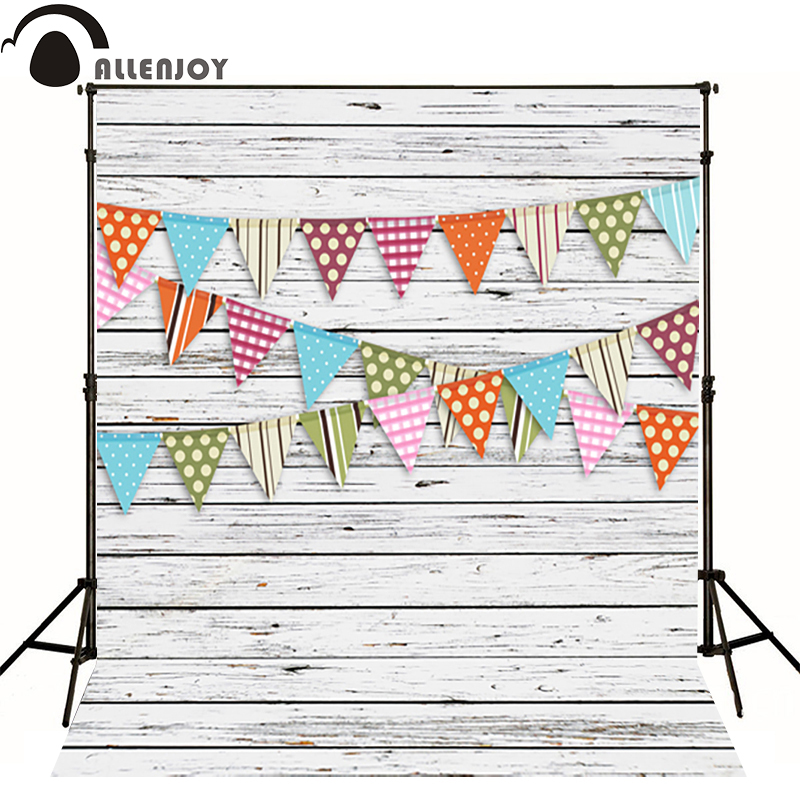 Allenjoy Photographic background wood flag green dot baby happy birthday photography backdrops studio fotografia