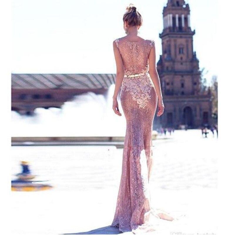 De Soirée Formelle Appliques Parole Mode Sirène Pink Longueur Blush Dentelle Illusion Retour Élégante Robes Bal Femmes dgwqfvd