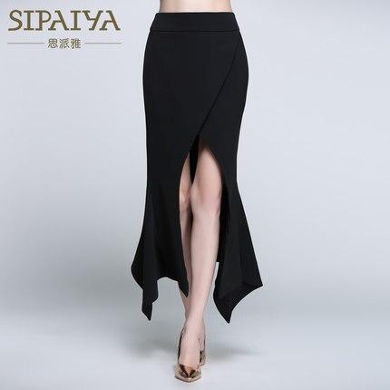 Nouveau en été de la jupe de hanche de paquet sexy mince de fente irrégulière de femmes dans la longue section de la jupe d'étape de all-match